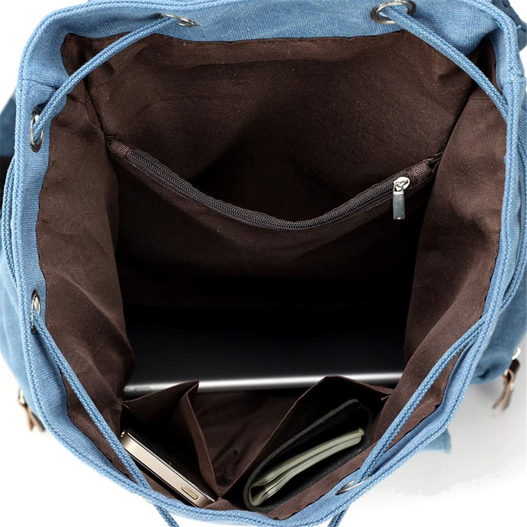 AINiubia Vintage Leather Military Shoulder Bag Men Women Backpack School Bag Casual Canvas Travel Bagpack