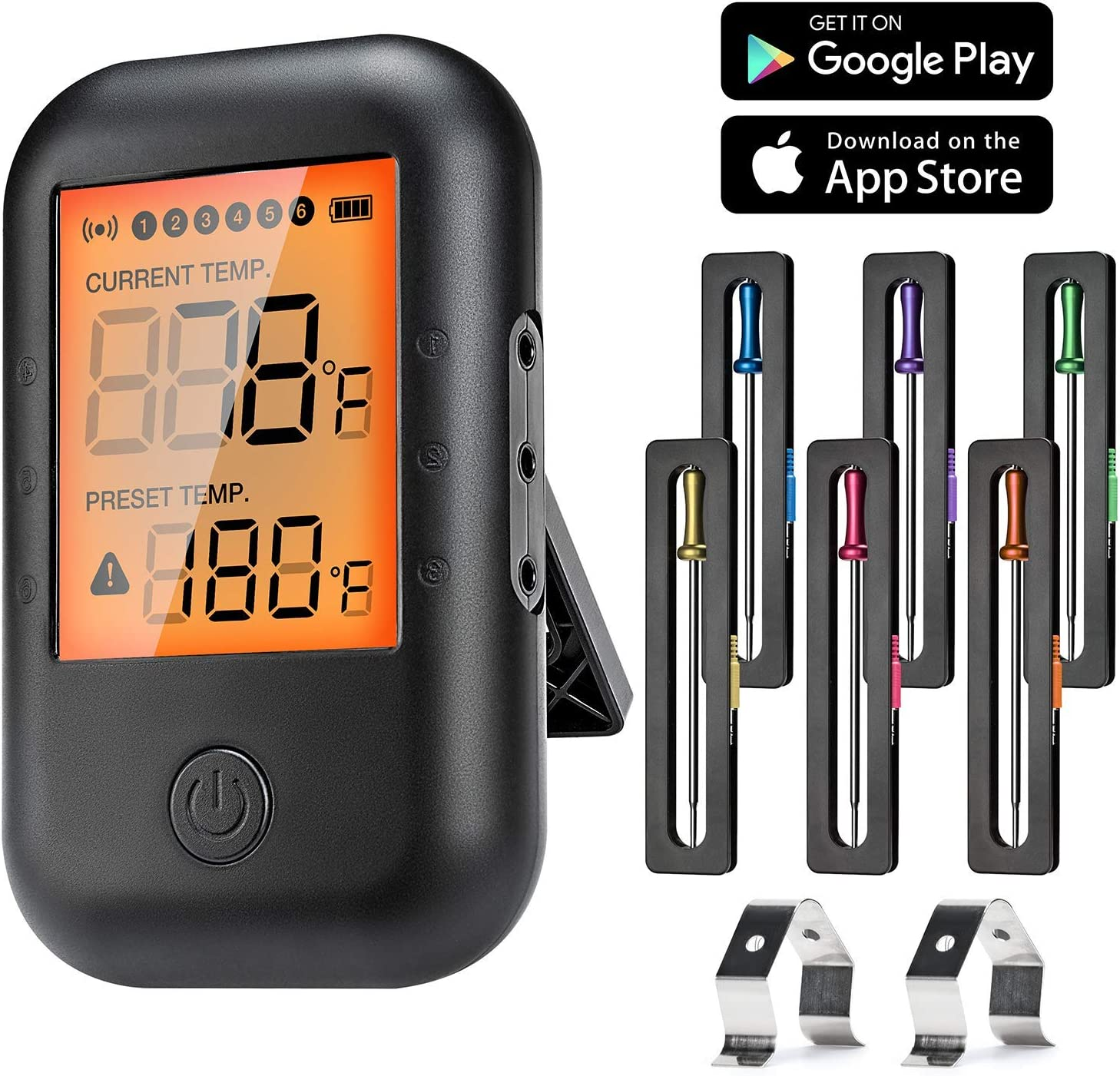 MUSCCCM Termómetro de Carne Digital, Termómetro de Cocción Bluetooth 5.0 con 6 sondas y Pantalla LCD para Horno, Barbacoa, Cocina, Soporte de iOS, Android