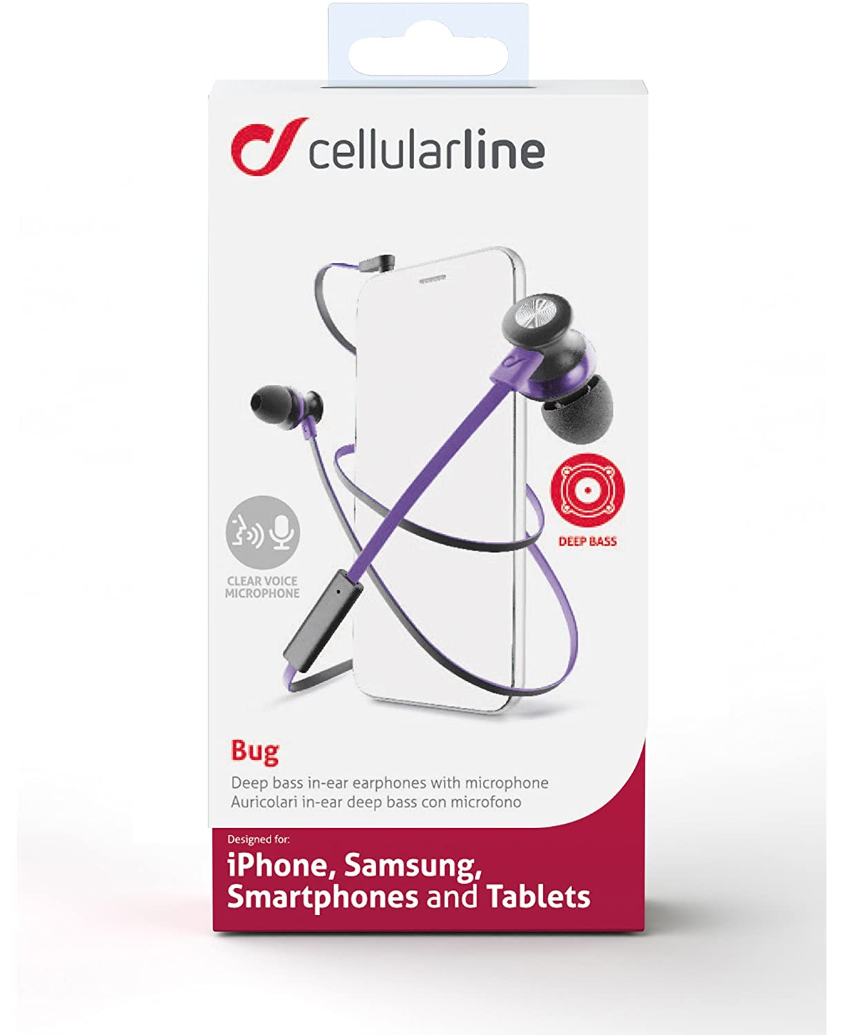 4f629a0f3e5 Cellularline BUG4 In-ear Earphone with Microphone and: Amazon.co.uk:  Electronics