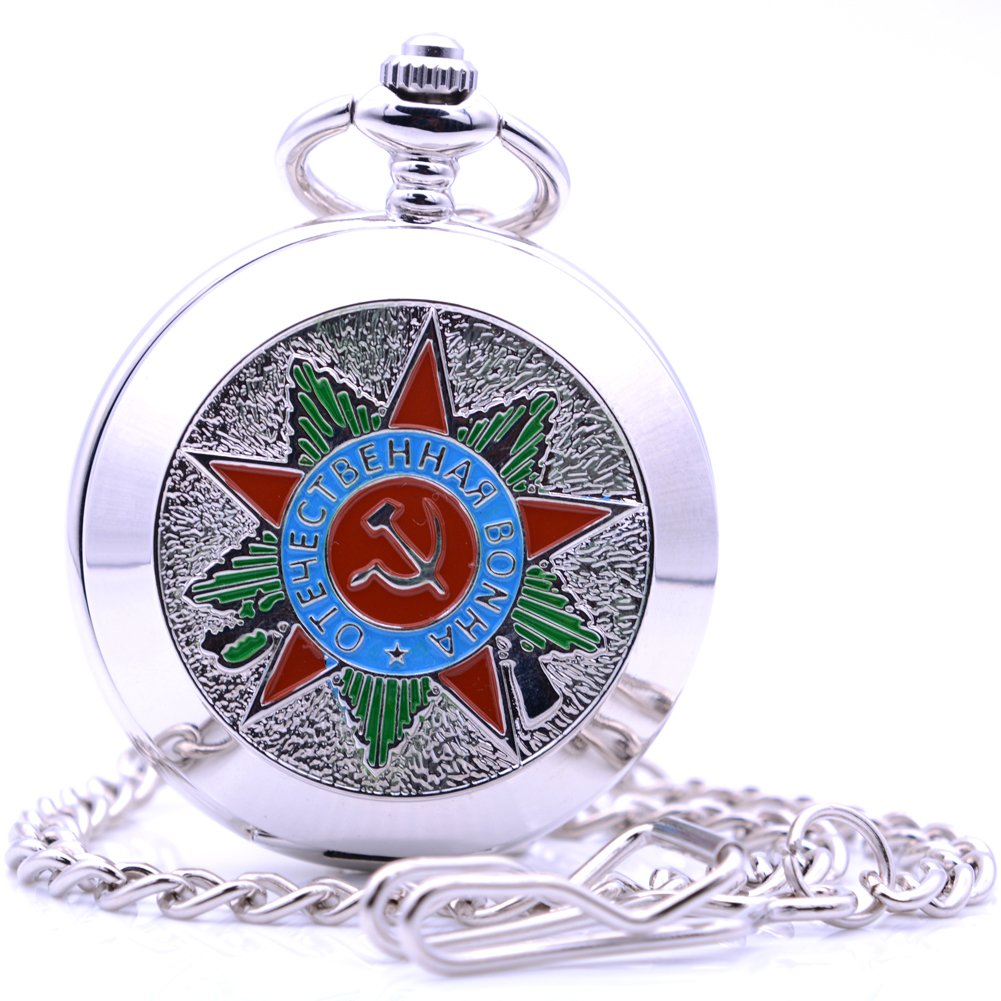 Classical Bolshevik Communist Party Pocket Watch, Vintage Hand-Wind Mechanical Pocket Watch Gift with Box (Silver)