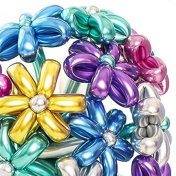 PuTwo Globos Globoflexia, 50 Piezas 260Q Globos Globoflexia Largos 6 Colores Globos Modelar Globos Modelado Globos Metalizados para Fiesta Carnaval, ...