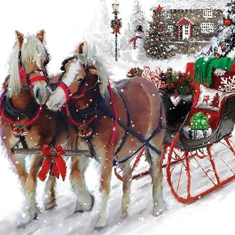 Immagini Di Natale Con Cavalli.Biglietto D Auguri Di Natale Musicale Con Cavalli E Slitta