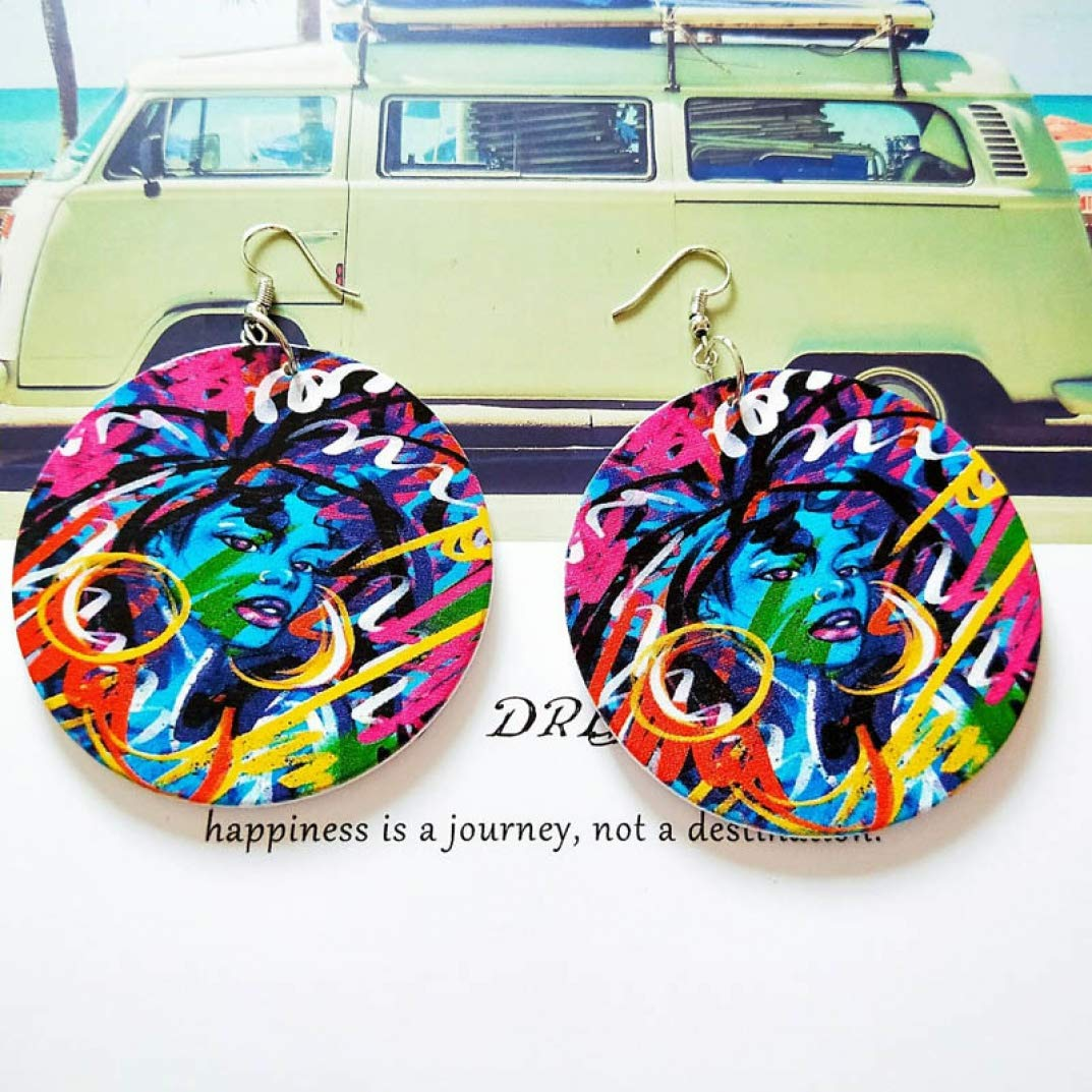 DIY Handmade Wood Mysterious Colorful Painting Round Vintage Earrings Wooden African Bohemia Ear Jewelry