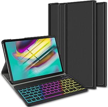 ELTD Funda con Teclado Español Ñ para Samsung Galaxy Tab S5e 10.5 Pulgadas T720/T725, Teclado inalámbrico 7 Colores Cubierta de Teclado retroiluminada ...
