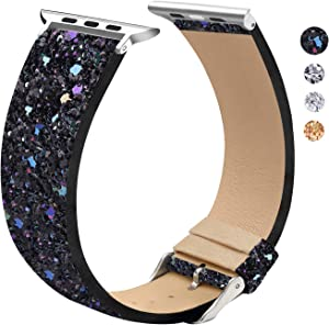 Replacement Band Compatible with Apple Watch 42mm 44mm, Shiny Strap Replacement Compatible with iWatch Bands Series 5, Series 4, Series 3, Series 2, Series 1(Black 42mm/44mm)