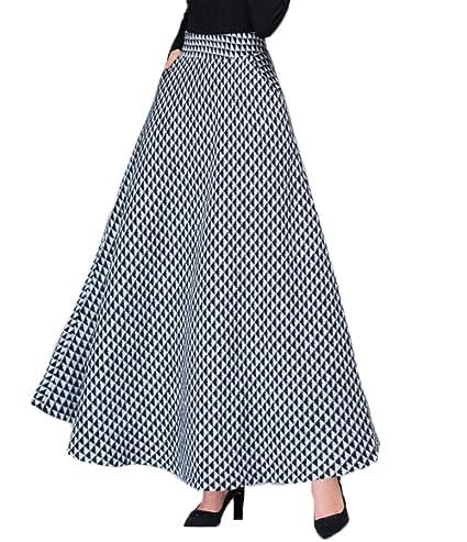 bab0fc161a HGDR Falda De Lana Maxi Swing para Mujer Plaid A-Line Bolsillos Dobles Faldas  Largas