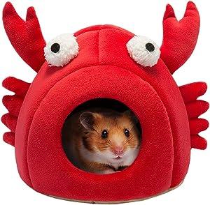 Hollypet Warm Small Pet Animals Bed Dutch Pig Hamster Cotton Nest Hedgehog Rat Chinchilla Guinea Habitat Mini House, Red Crab