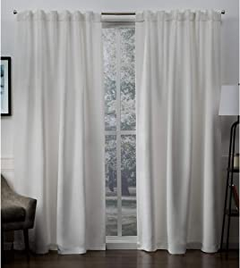 Exclusive Home Curtains Sateen Twill Woven Blackout Hidden Tab Curtain Panel Pair, 52x96, Vanilla