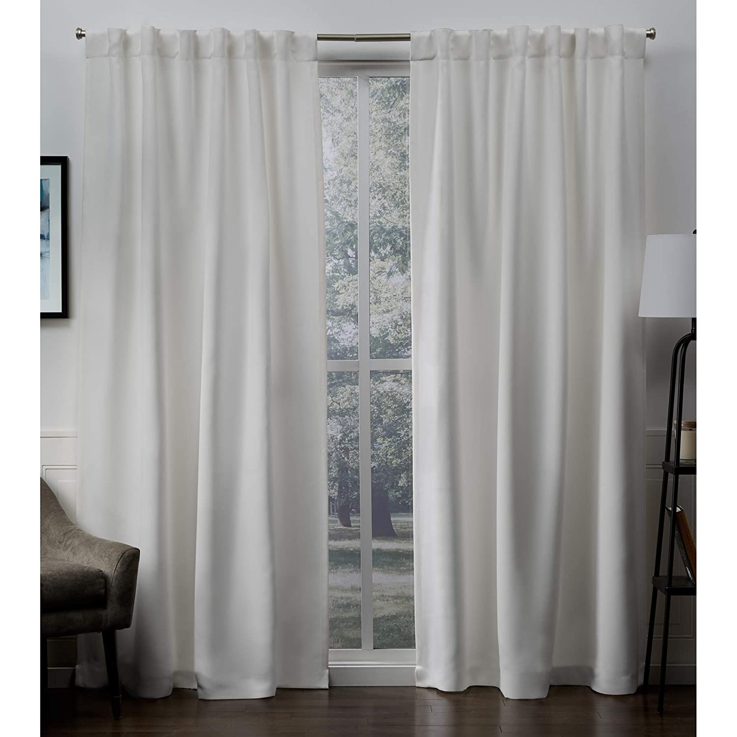 Vanilla 52x96 Exclusive Home Sateen Blackout Hidden Tab Curtain Panel Pair, Silver, 52x63, 2 Piece