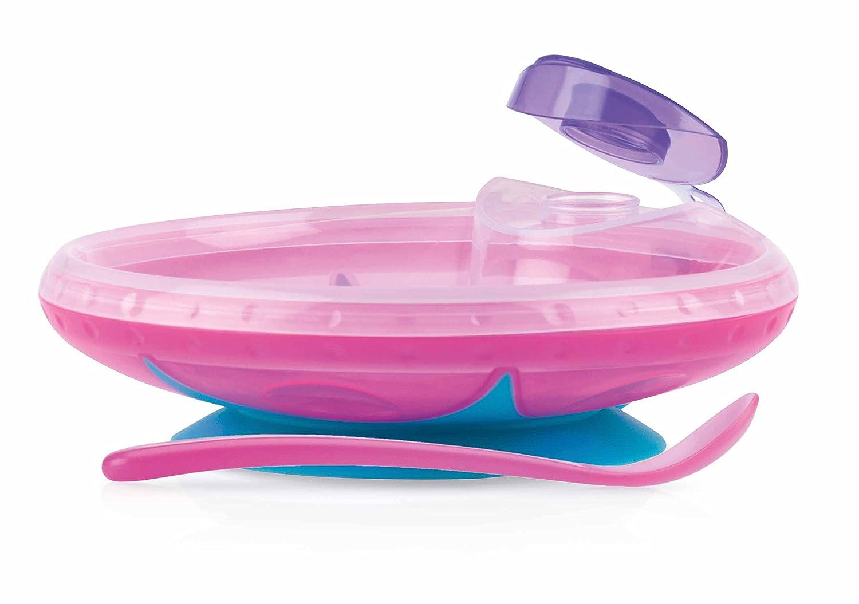 Nuby ID5342 - Plato de agua caliente con ventosa y cuchara: Amazon.es: Bebé