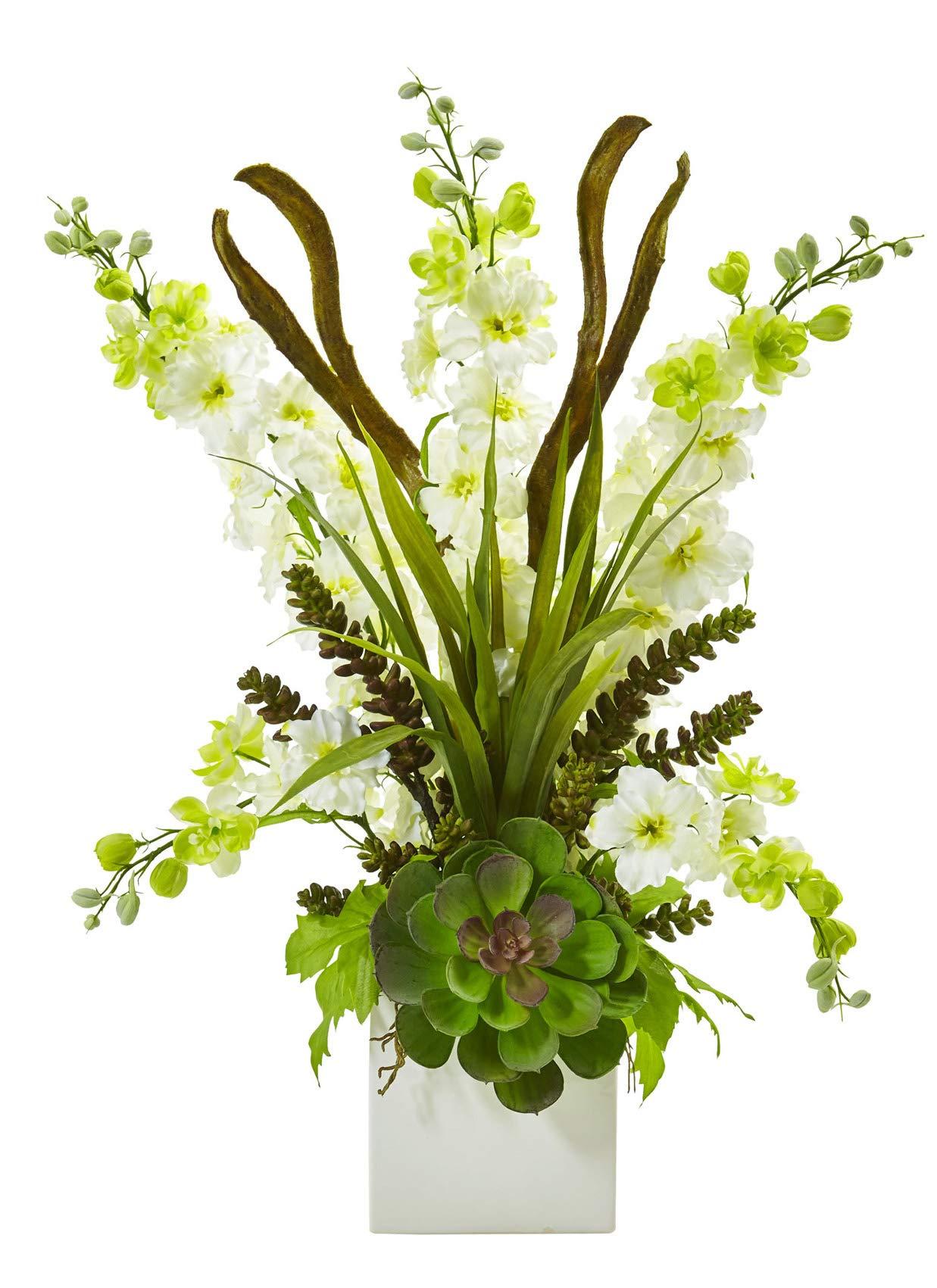 Artificial-Flowers-White-Delphinium-and-Succulent-Arrangement-Silk-Flowers
