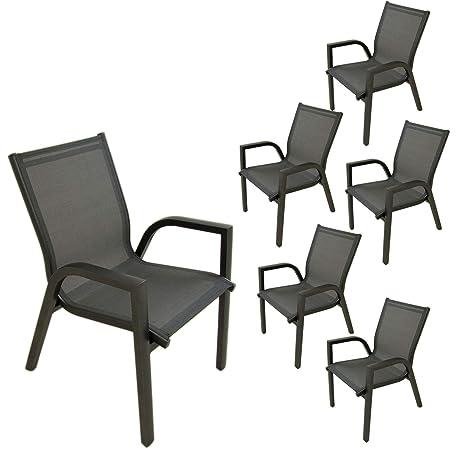 Edenjardi Pack 6 sillones de terraza apilable, Tamaño ...