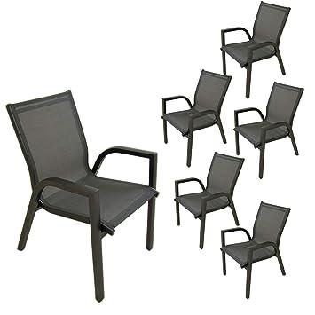 Edenjardi Pack 6 sillones de terraza apilable | Tamaño ...