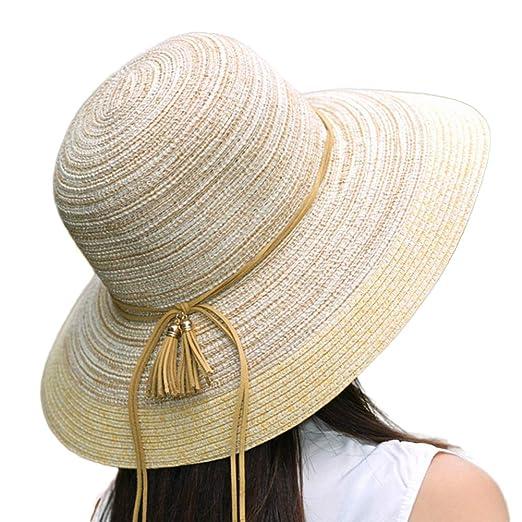 Floppy Summer Sun Straw Hats Beach Accessories for Women Wide Brim UPF  Packable 56-58cm eeedd429cc1