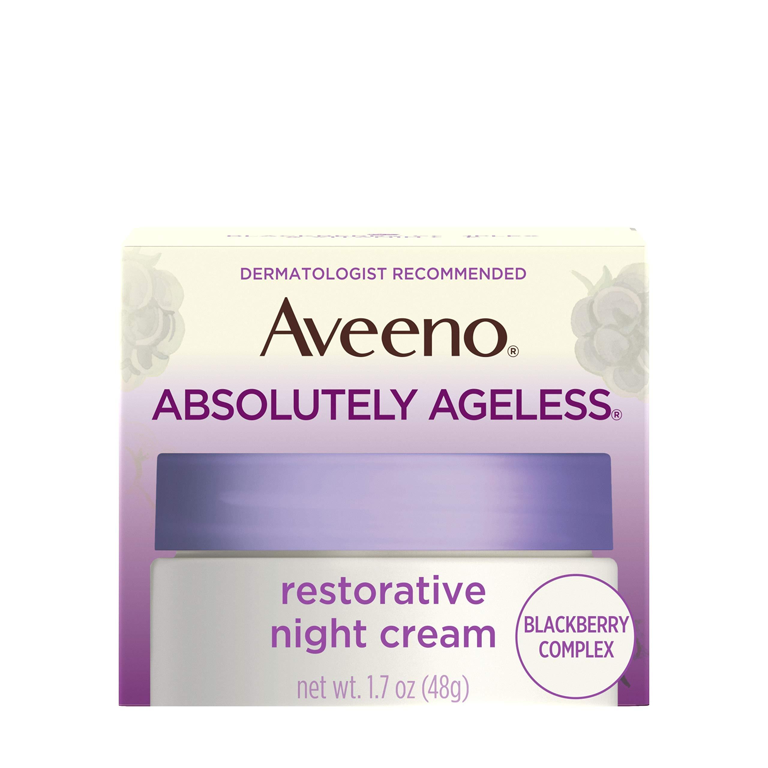 Aveeno Absolutely Ageless Restorative Night Cream Facial Moisturizer with Antioxidant-Rich Blackberry Complex, Vitamin C & E, Hypoallergenic, Non-Greasy & Non-Comedogenic, 1.7 fl. oz by Aveeno