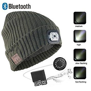SSCJ Gorra inalámbrica Bluetooth Beanie con Linterna LED Carga USB Gorra de música Unisex Correr Esquí Senderismo Camping Ciclismo/Recibir Llamadas/Escuchar ...