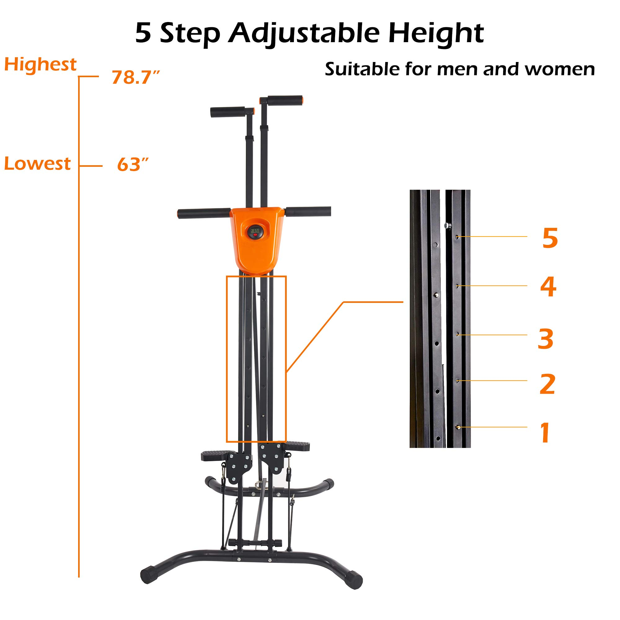Lucky Tree Stair Climber Exercise Machine Vertical Climber Stairs Gym Home Fitness Folding Stair Stepper Adjustable Height for Women Man Full Total Body Workout by Lucky Tree (Image #3)