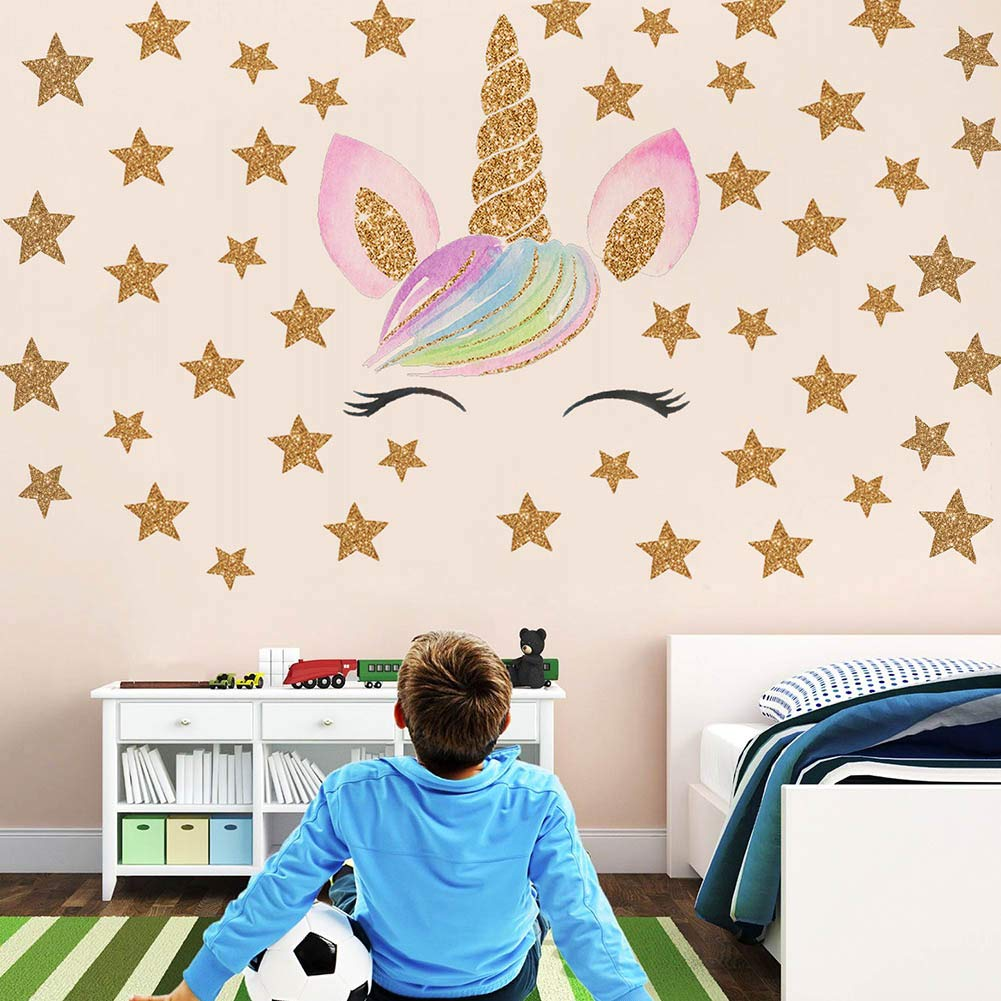 Beautyonline Unicorn Wall Stickers, Fantasy Girls Bedroom Wall Decor Wall  Decals Unicorn Cute and Removable Wall Decals Nursery Decal(Style 15)