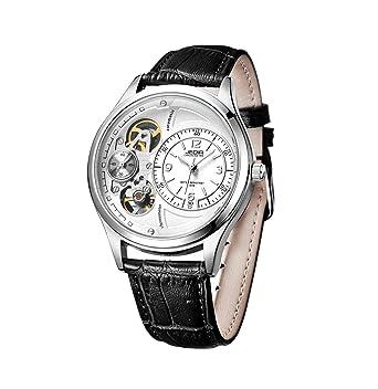 Good Men White Automatic Mechanical Wristwatch Leather Band Skeleton Steampunk  Watch