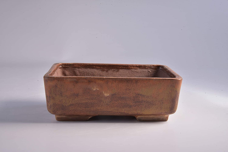 Handmade Bonsai Pot Vaso bonsai rettangolare artigianale in gres 17 CM