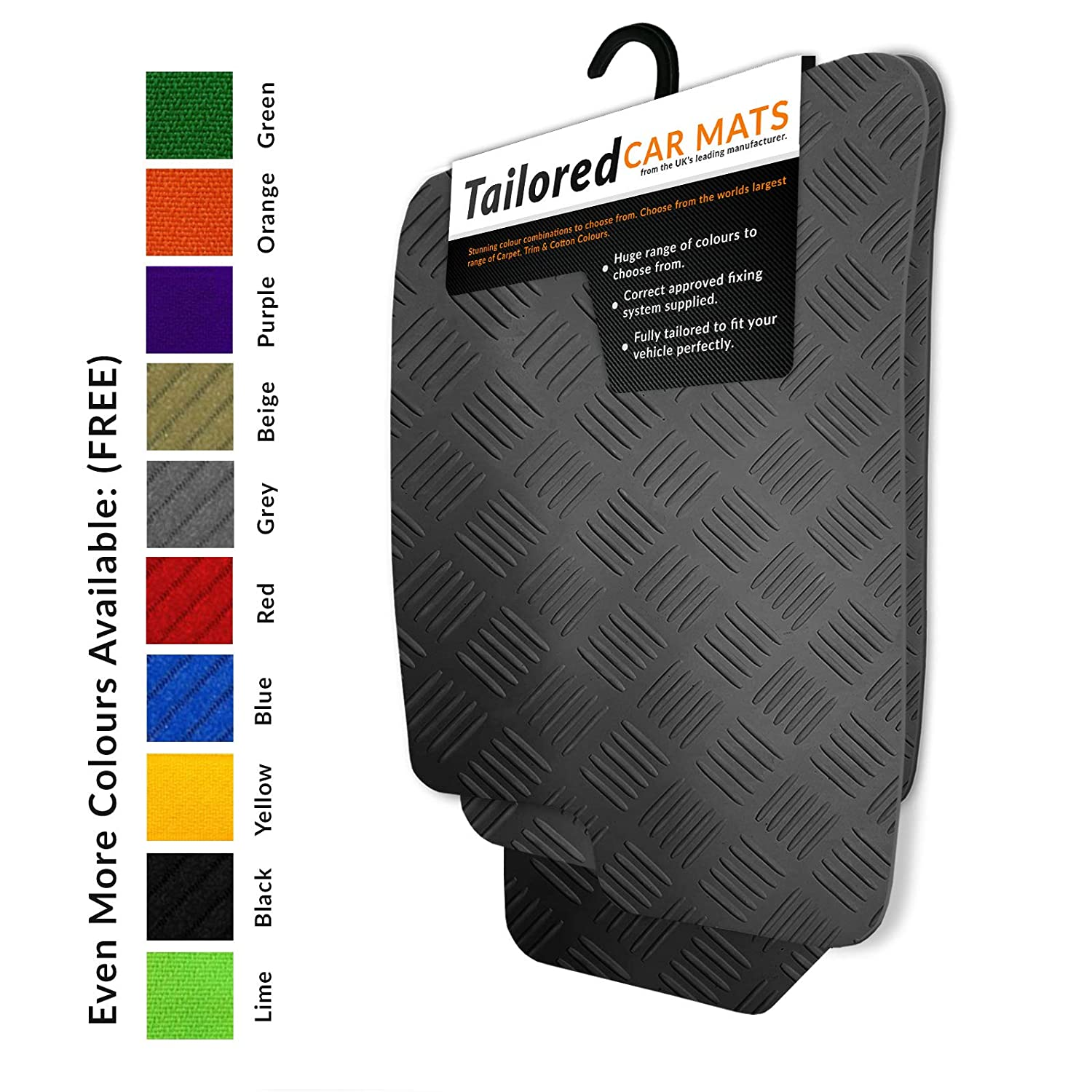 To fit 208/2008 / 2008 Crossover (2012+) Tailored Black Rubber Car Mats Heavy Duty (1433) Unique Car Mats