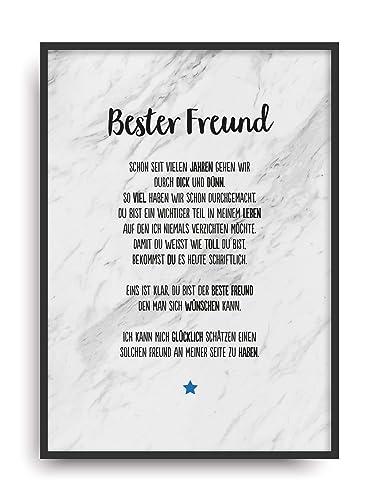 Geschenk Karte BESTER FREUND Kunstdruck Ehrentitel Kollege ...