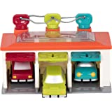 Battat – 3 Car Garage – Shape Sorting Toy Garage with Keys and 3 Toy Cars for Toddlers 2 years + (5-Pcs)