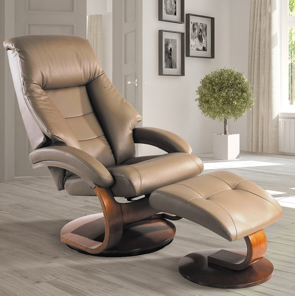 Mac Motion Chairs Collection by Mac Motion Mandal Top Grain Leather Oslo Recliner and Ottoman, Sand (tan) by Mac Motion Chairs