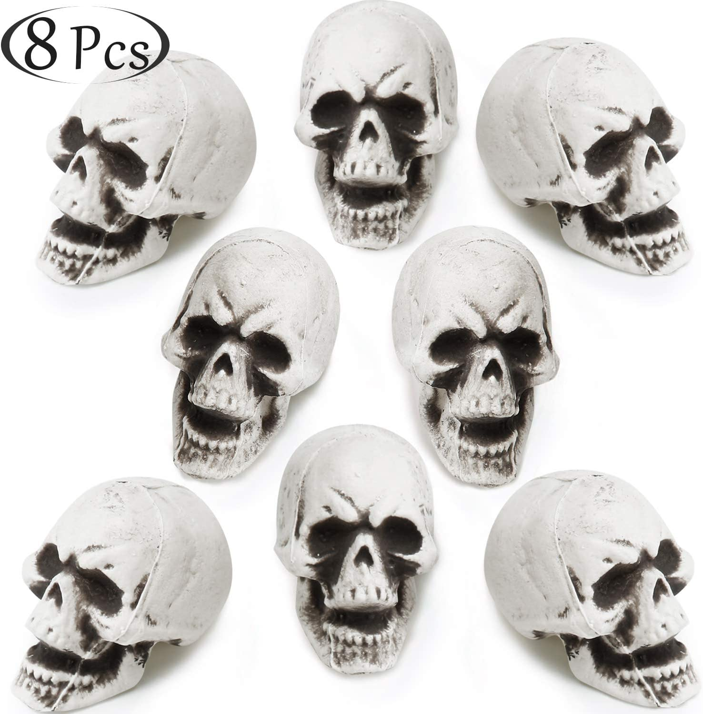 8 Pieces Halloween Skulls Realistic Looking Skulls Human Skeleton Head Skull for Halloween Bar Home Table Decoration (Large, Style B)
