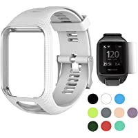 TUSITA Wristband for Tomtom Runner 2 3/Spark/Spark 3/Golfer 2/Adventurer, Replacement Silicone Band Strap Accessory with Screen Protectors