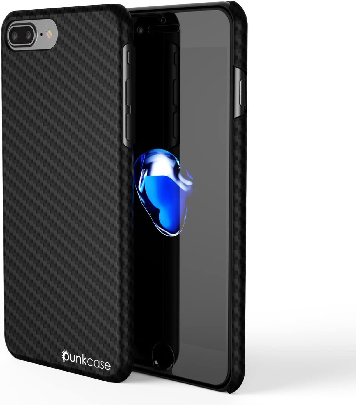 iPhone 7 Plus Case, Punkcase CarbonShield, Heavy Duty & Ultra Thin 2 Piece Dual Layer PU Leather Cover [Shockproof][Non Slip] with PUNKSHIELD Screen Protector for Apple iPhone 7s+ (Jet Black)