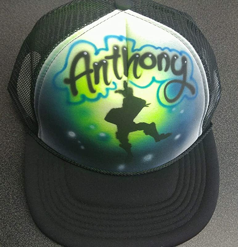 Airbrushed Trucker Hat *Beach Scene* Your Words