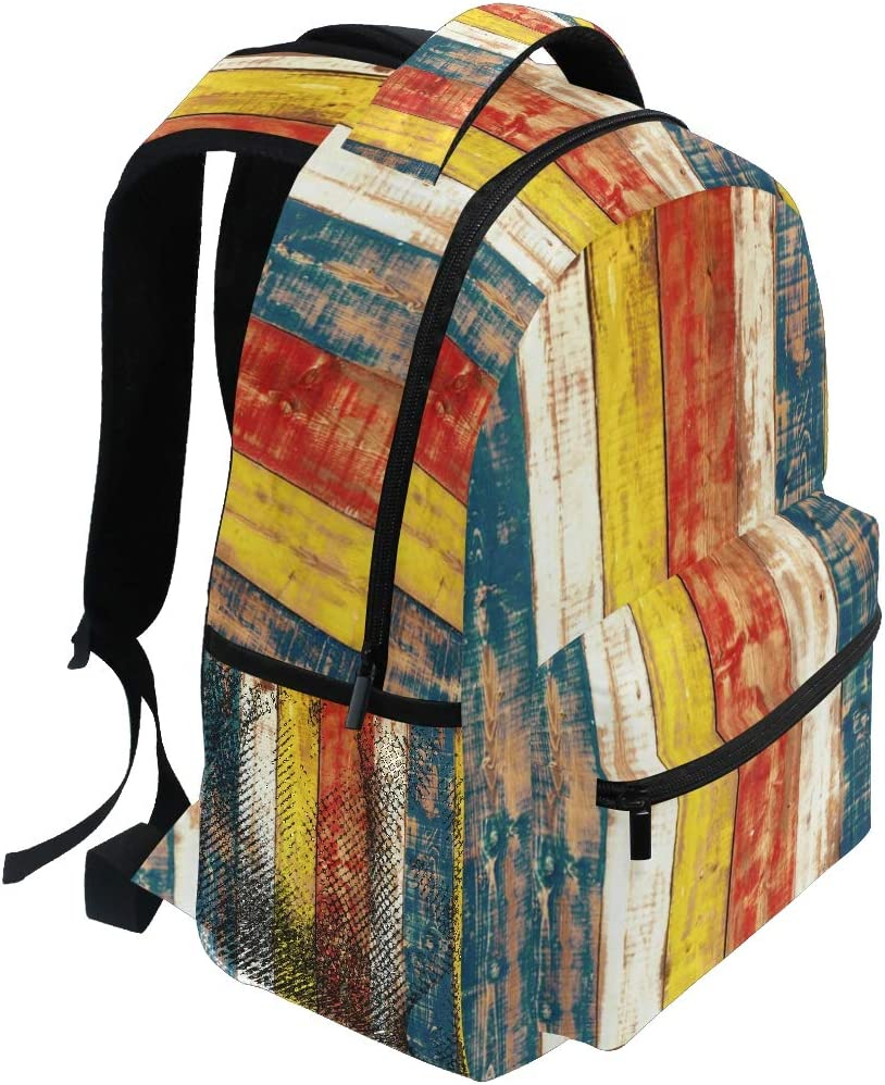 Backpack Fashion Laptop Daypack Retro Colorful Wood Texture Travel Backpack for Women Men Girl Boy Schoolbag College School Bag Canvas