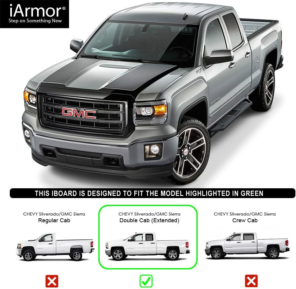 TRIL GEAR Running Boards for 2007-2018 Chevy Silverado//GMC Sierra Matted Crew Cab Side Step Nerf Bars Sliders Rails