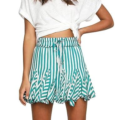 166255e6c75 Anglewolf Women Fashion Party Cocktail Mini Skirt Dresses Ladies Summer  Skater Short Skirts Bohemian Style Striped Mini Skirt Sweet Girls Splicing  Skirt ...