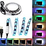 eTopxizu 3.28Ft Flexible 5050 RGB LED Strip Light with 5v USB Cable And Mini Controller For Background Lighting