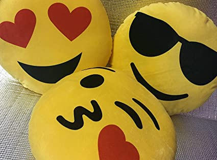 5817449a1 Buy Frantic Soft Plush Emoji Flying Kiss, Heart Eyes and Cool Dude Smiley  Cushion Pillows - Set of 3 Online at Low Prices in India - Amazon.in