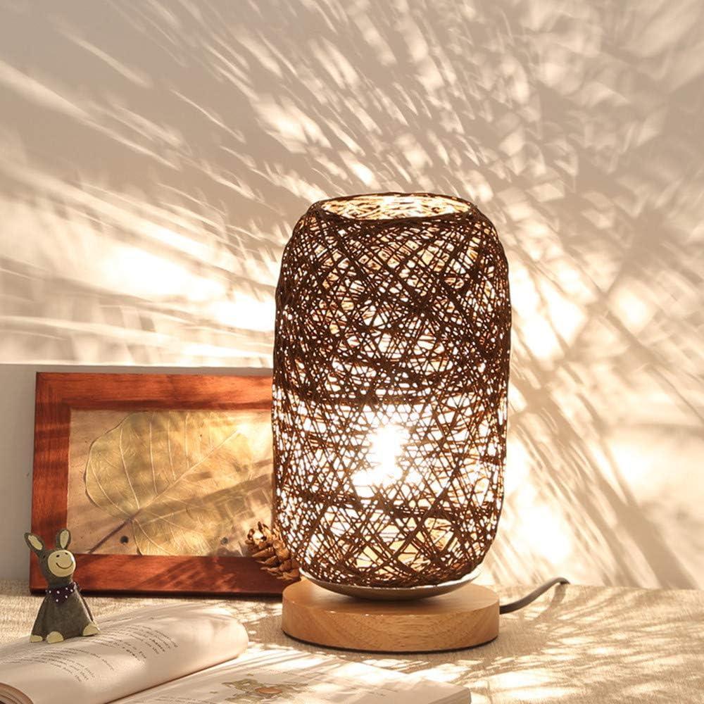 2020 Wood Rattan Twine Ball Lights Table Lamp Room Home Art Decor Desk Light (Beige) Brown