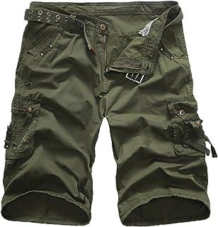 Elonglin Mens Casual Cargo Shorts Multi Pockets Capri Pants EL.DK0169