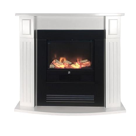 Chimenea eléctrica 1800 W incluye tablero blanco Marco para chimenea eléctrica con fuego efecto radiador eléctrico