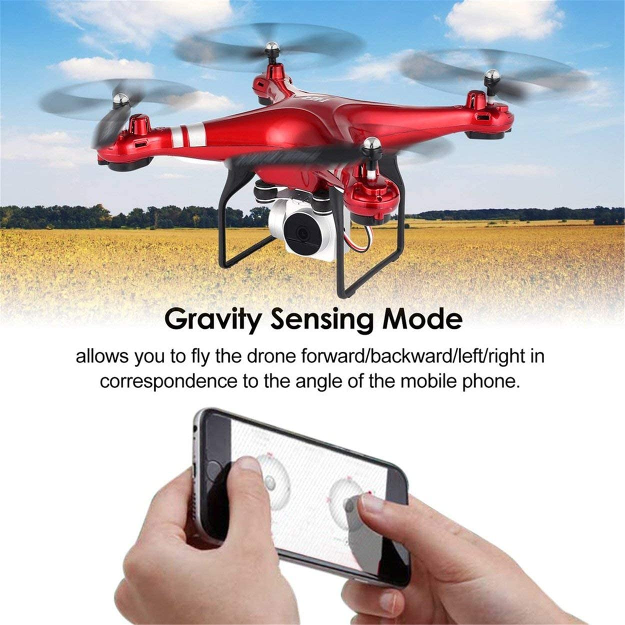 Return Key RC Quadcopter for All People Three Batteries Red Gravity Sense FPV RC Drones with 1080p HD Wide Angle WiFi Camera Live Video Headless Mode