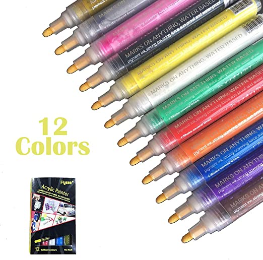 Farben Acrylstifte Marker Set Acrylfarben Wasserfest Für DIY Graffiti Stifte .