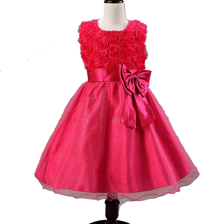 Summer Flower Girl Dresses for Wedding Party Formal Gown for Little Girl First Communion Dress,Fuchsia Pink,Child-7
