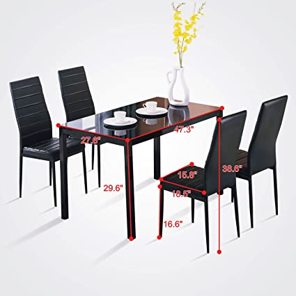5 Piece Set 4 Chairs Dining Table Glass Metal Kitchen Room Breakfast Furniture  Modern Dining Room