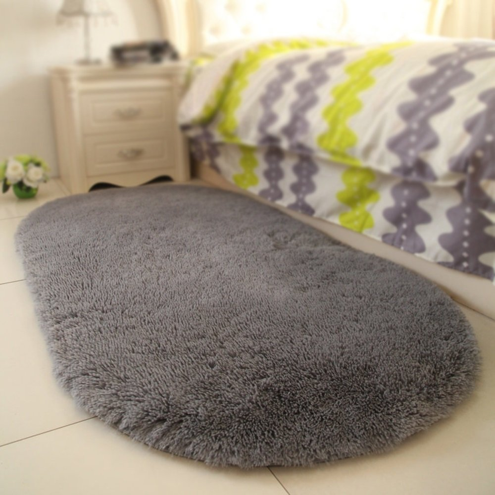 Stylish bedside carpet / modern simple bedroom pad / living room home decorations / fashion solid color oval carpet ( Color : Grey , Size : 160230cm )