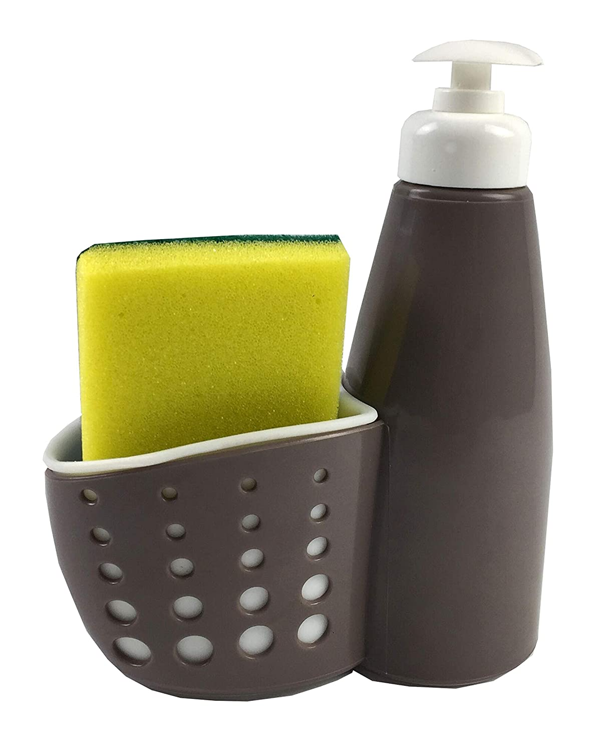 Home Basics Pump with Perforated Sponge Kitchen Sink Countertop Liquid Hand  Soap Dispenser Caddy and Scrubber Holder Storage
