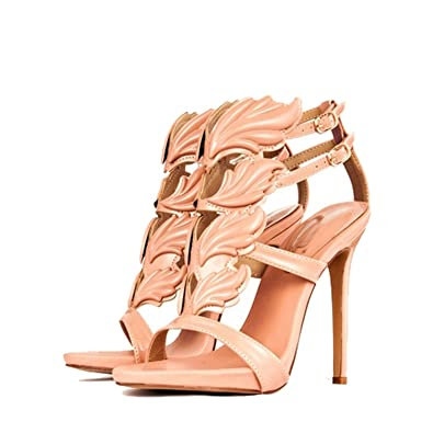 fa7270a54c Jeff Tribble Women High Heel Sandals Gold Leaf Flame Shoes Party Dress  Patent Leather High Heels
