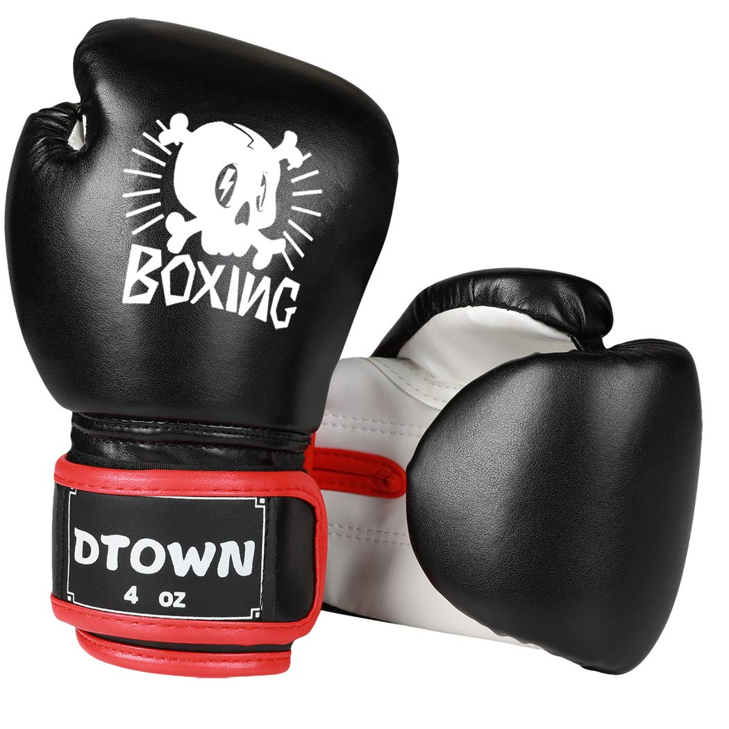 Dtown Kids Boxing Gloves 4oz 6oz Training Gloves for Children Age 3 to 12 Years PU Leather