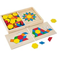 Melissa & Doug Pattern Blocks and Boards Classic Toy (Developmental Toy, Wooden Shape Blocks, Double-Sided Boards, 120…
