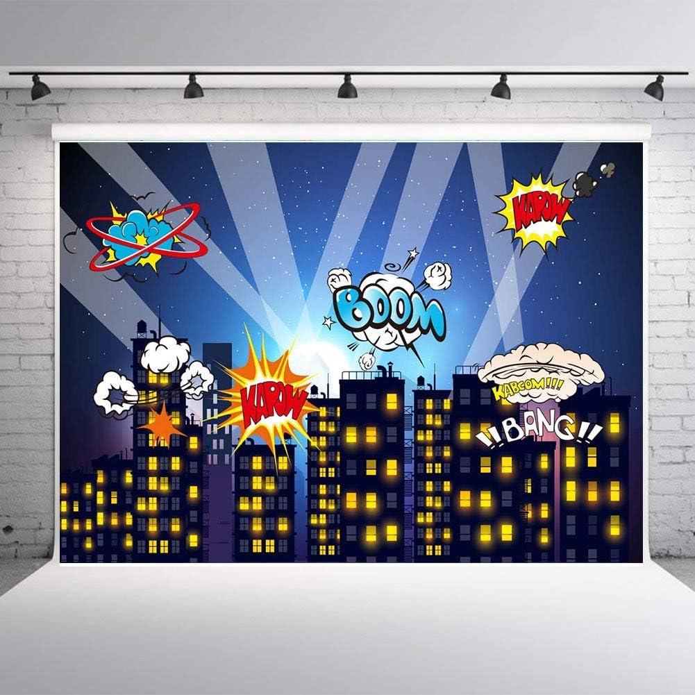 Fanghui Super City Hero Photography Backdrops Photo Background Birthday Party Decoration Vinyl 7x5ft